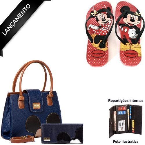 Bolsas Femininas Mickey Kit Com Carteira Porta Cartão + Chinelo Minnie Novidade 12x S/juros