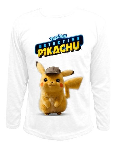 Remera Pokemon Detective Pikachu Blanco Gris Manga Larga