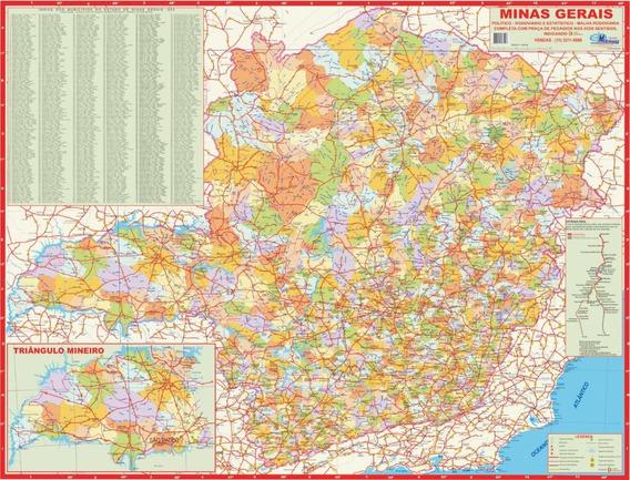 Mapa Estado De Minas Gerais Atualizado - 120 X 90cm Gigante