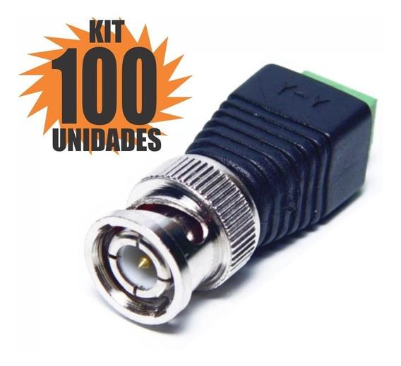 Kit 100 Peças Conector Bnc Macho Com Borne Para Cameras Cftv
