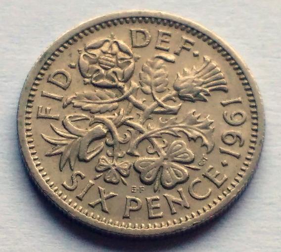 Moneda De Gran Bretaña, 6 Pence 1961.
