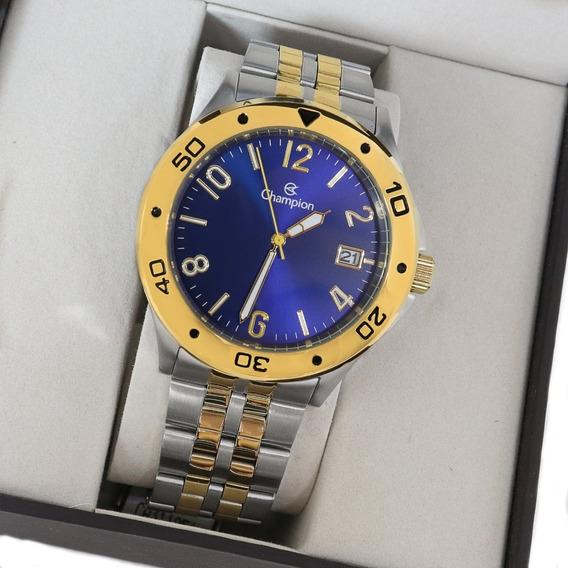 Relógio Champion Masculino Prata Azul Ca31195a Original