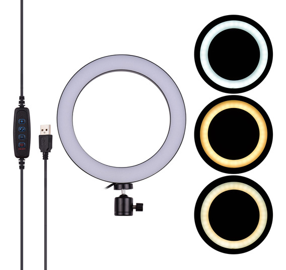 20 Cm/8 Polegadas Mini Led Video Ring Light Lâmpada 3 Modos