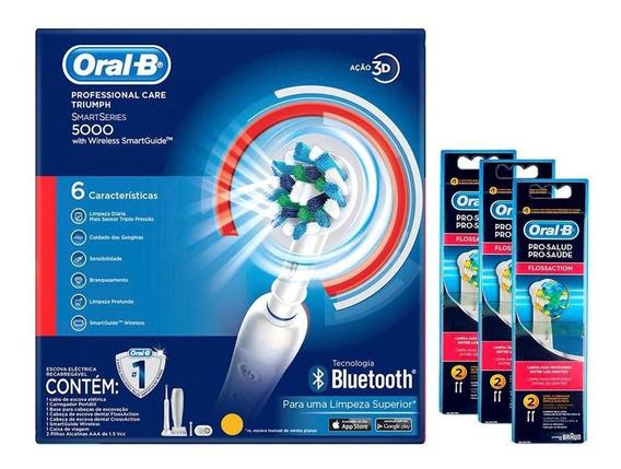 Escova Elétrica Oral-b 5000 110v+6 Refis Oral-b Floss Action