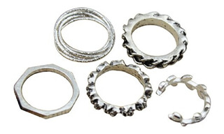 Set 5 Anillos Plateados - Middle Rings - Accesorios Mujer