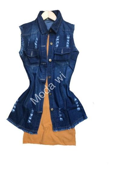 Look Colete Jeans Longo Mas O Vestido Canelado Varias Cores