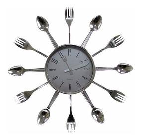 Relógio Cozinha Talheres Prata Promoção Liquidação