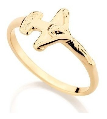 Anel Rommanel Skinny Ring Crucifixo 510370 Folheado A Ouro