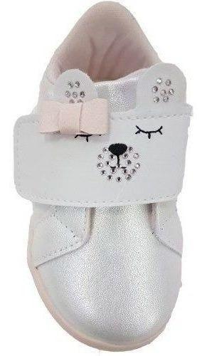 Tenis Pampili Branco Ursinha Zoo Feminino Bebê Nº 17 Ao 22