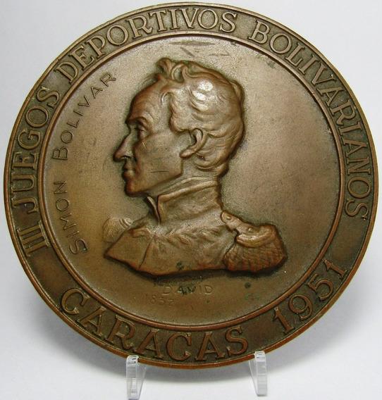 Venezuela Caracas Medalla Simon Bolivar 1951 Juegos Deportiv