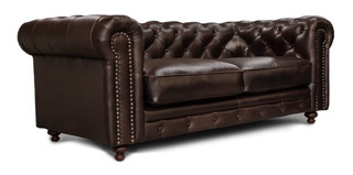 Love Seat Piel Genuina - Chesterfield - Conforto Muebles