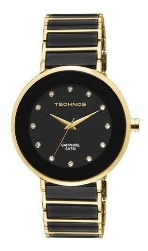 Relógio Technos Cerâmica Preto C/ Dourado Redondo 2035lmm/4p