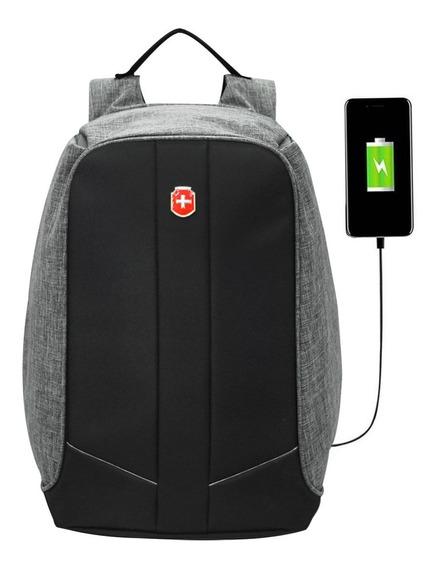 Mochila Anti Furto Para Notebook Impermeável S28056 Com Usb