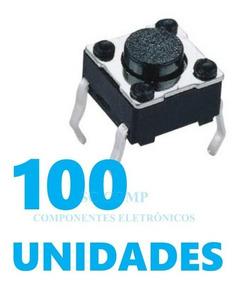 100pçs Chave Táctil 6x6x4,3mm 4 Terminais 180º