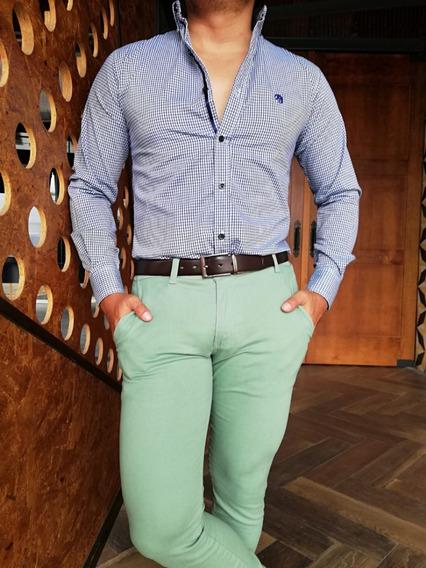 Pantalon Para Caballero Skinny De Gabardina Verde Menta