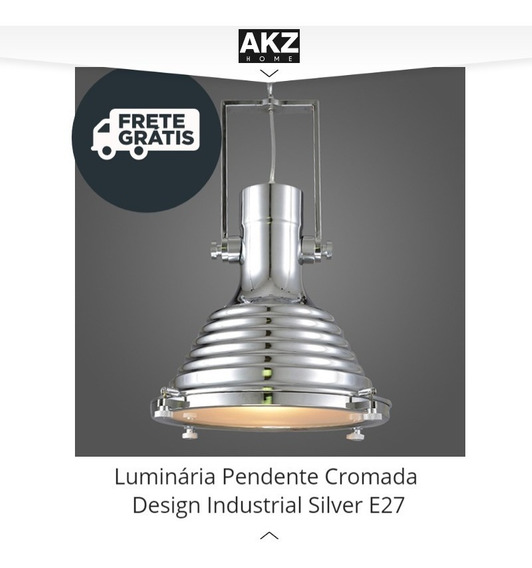 Luminária Pendente Cromada Design Industrial Silver E27