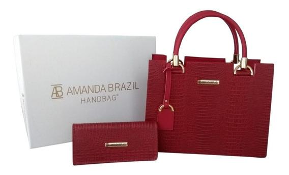 Kit Bolsa + Carteira Amanda Brazil Lorena / Croco 2019 Linda