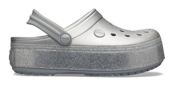 Crocs Crocband Plataforma Clog Metallic / Silver 1110