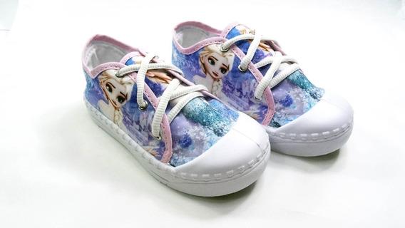 Tênis Infantil Cano Curto Frozen Azul Ana Elsa