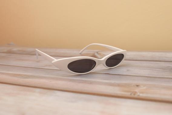 Óculos De Sol Retro Vintage Oval Branco