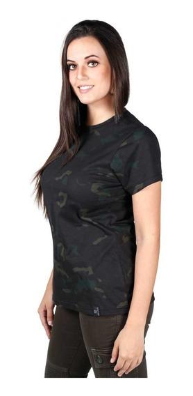 Camiseta Soldier Feminina Camuflada Multicam Black