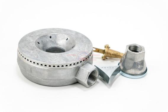 Quemador De Aluminio Extragrande Industrial Completo 13cm Incluye Ventila 1/2, Válvula Baja Presión Y Perilla Metálica