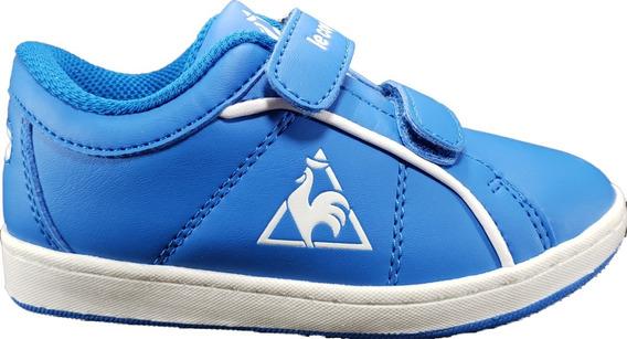 Zapatilla Lecoq Sportif Cuero Niños Velcro Azul Megacaseros