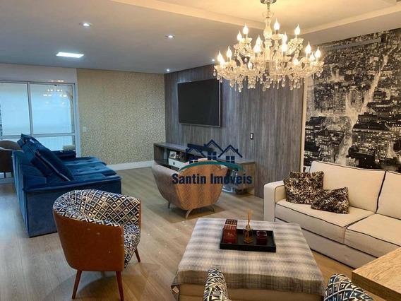 Apartamento Todo Mobiliado Com 3 Dormitórios,(03 Suítes)varanda Gourmet,02 Vagas À Venda, 144 M² Por R$ 1.100.000 - Campestre - Santo André/sp - Ap1513
