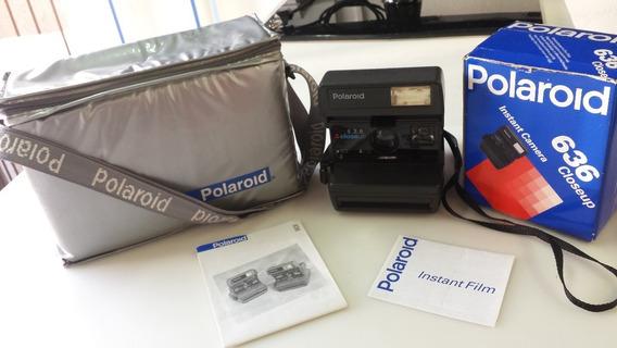 Câmera Polaroid 636 Closeup Bolsa, Caixa E Manual Antiga