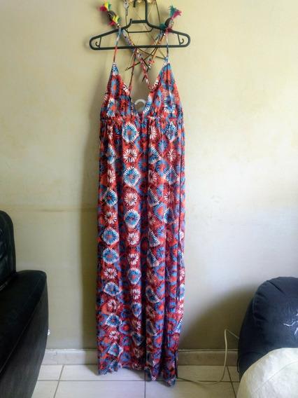 Vestido Cantão Longo Tangerina Bora Bora Tam G Com Tag