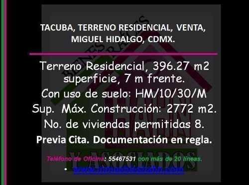 Tacuba, Terreno Residencial, Venta, Miguel Hidalgo, Cdmx.