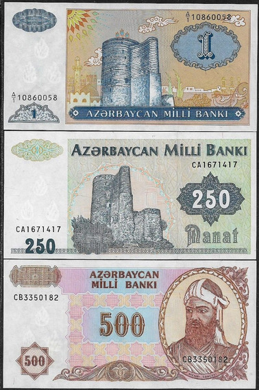 Azerbaijan Azerbaijão 1/250/500 Manat Nd1992/93 Fe (lote)