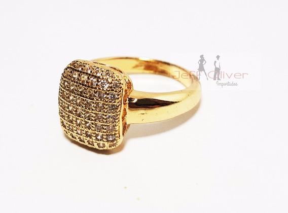 Anel Zircônia Noivado Casamento Banhado A Ouro 18k + Brinde