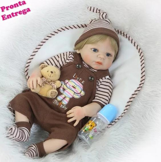 Bebe Boneca Reborn Realista Silicone Vinil 55cm Menino Lindo