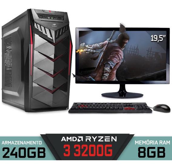 Computador Gamer Ryzen 3 3200g Ram 8gb Ssd 240gb 19,5 Rx570