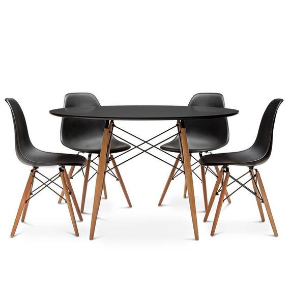 Mesa Eames Redonda 90cm Com 4 Cadeiras Eames Wood Preta - Aj