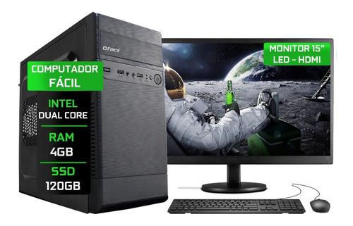 Computador Fácil Completo Dual-core 4gb Ssd 120gb Monitor 15