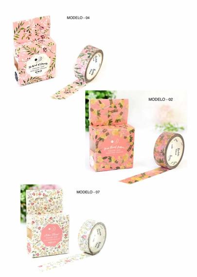 4 Kit Washi Tape Fita Adesiva Decorada 12 Unid Original