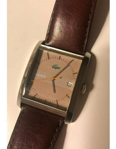 Relógio Lacoste Original Com Pulseira De Couro Marrom