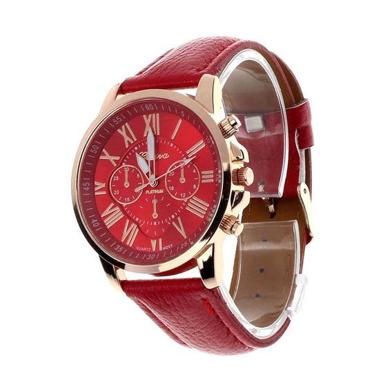 Relógio De Pulso - Feminino - Geneva - Quartzo - Vermelho