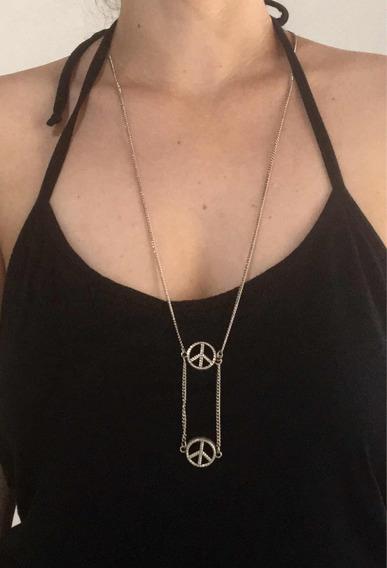 Escapulário Paz Detalhado Frente E Atrás Hippie Paz E Amor