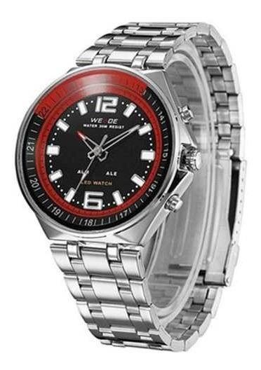 Relógio Masculino Weide Anadigi Wh-849 Prata Com Preto