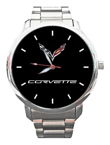 Relógio Personalizado Logo Corvette Super Sport Aço Inox
