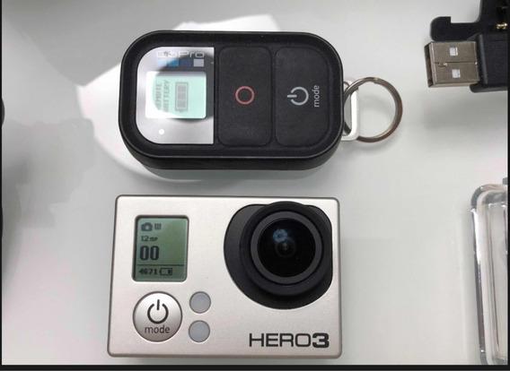 Go Pro Hero 3 Silver Com Cartão De Memória E Acessórios