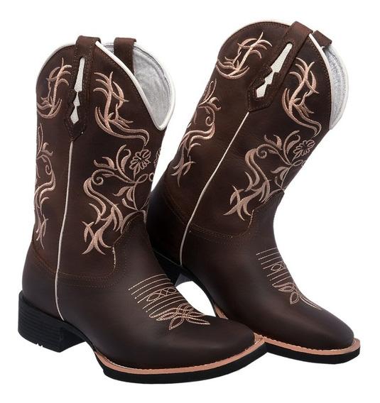Bota Feminina Country Rodeio Texana Coturno Couro Legitimo
