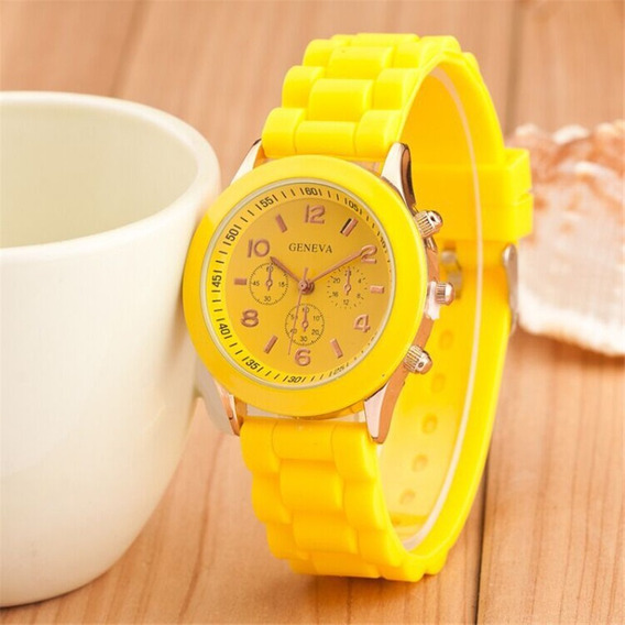 Relógio Feminino Casual Esporte Silicone Amarelo