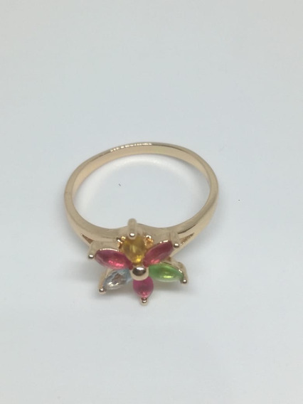 Anillo Flor De Colores En Chapa De Oro