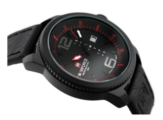 Relógio Masculino Naviforce Esportivo Original Couro Brinde