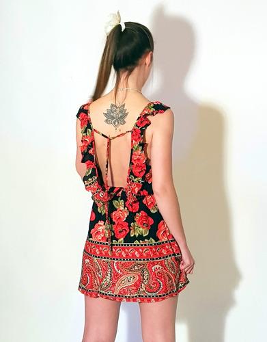 74fef819468 Vestido Corto Espalda Descubierta Flores Primavera Verano - $ 699,37 en  Mercado Libre