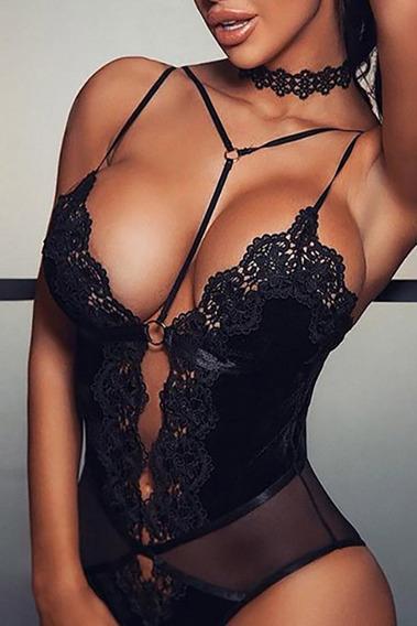 Sexy Teddy Moderno De Red Negro Bralette Bralet Encaje 32359
